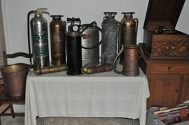 Fire extinguishers vintage including Elkhart Brass Mfg Co Phister General Quick Aid Parco Backpack