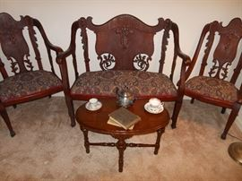 3 Pc Set Antique Ornately carved settee and 2 chairs