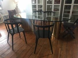 RARE Mastercraft brass dining table (black chairs not for sale)
