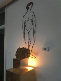 Vintage Matisse style hanging brass figurine woman