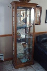 Oak curio cabinet.