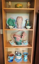 Roseville pottery, Majolica, sand portrait, and ceramic decorations