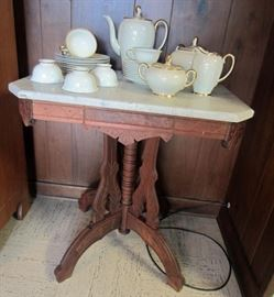 Antique marble top Eastlake table  and Rosenthal coffee and tea service