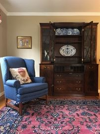 Pair of Blue Wing Back Arm Chairs, Antique Persian Rug, Breakfront
