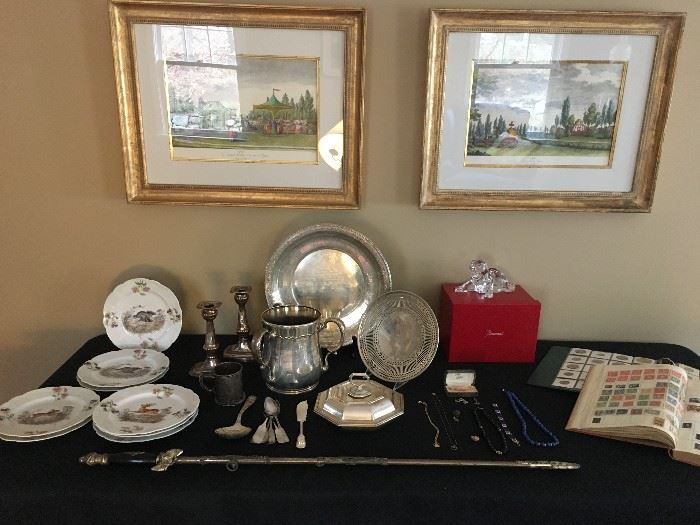 Collectibles including a Baccarat Roaring Lion, Stamps and Coins
