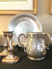 Three Handled Sterling President's Cup, Sterling Silver Candle Holders, Sterling Presentation Platter