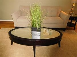Oval   table   with  mirrored  top    It  matches   end  table