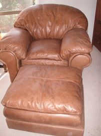 Leather overstuffed chair & ottoman
