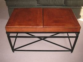 Leather top & wrought iron coffee table (top opens for storage)