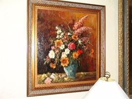 Large oil painting,  floral still life by Z. Kogmulski ?, 26 x 28 inches