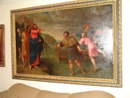 """Extremely rare and fine signed 17th century oil painting by  Pietrs van Lint, entitled Sons of Zebedee  Inventor,""""  dated 1645, 46 inches by 75 inches long, decommissioned from a museum in Okalahoma.  This is a rare opportunity to own an important work of art for any  enthusiastic collector or museum."""