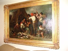 """""""Gypsy Camp Scene,  by William Percy,  1854-1920 , British artist,  43 inches by 64 inches"""