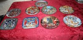 Lot #1 Franklin Mint Holiday Decorator Plates  Set Includes the following  nine plates.  All but one are by Bill Bell.  One by George Hinke. Aprox 6 to 8 inches. Golden Moments, Santa Paws, Food Fight, A Doggone Egg-Stravaganza, Scaredy Cats, Cooking with Class, A Christmas Eve Visitor by George Hinke, Noel Noel, Trimmed to Purr-fection.