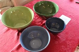 Lot #7 Pottery barn Sausalito bowls 7 in  dk blue 8.5 in light blue with some chipping on the lip of the bowl 10 in dk green 11 in lg green