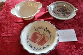 Lot #8 Ceramic Serving Dishes Serving bowl 11 in Fish ceramic pie plate 10.5 in handle has  been repaired Ceramic Apple design pie plate 11 in