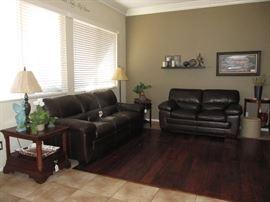 Simon Li Leather sofa and love seat  -