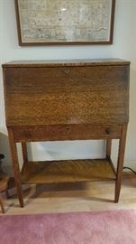 Closed Oak Slant-Front Desk