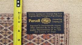Label and Knot Detail of Rug