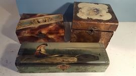 antique celluloid dresser boxes, as is