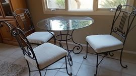 glass top table, 4 chairs