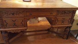 antique carved executive desk, carved sides and back