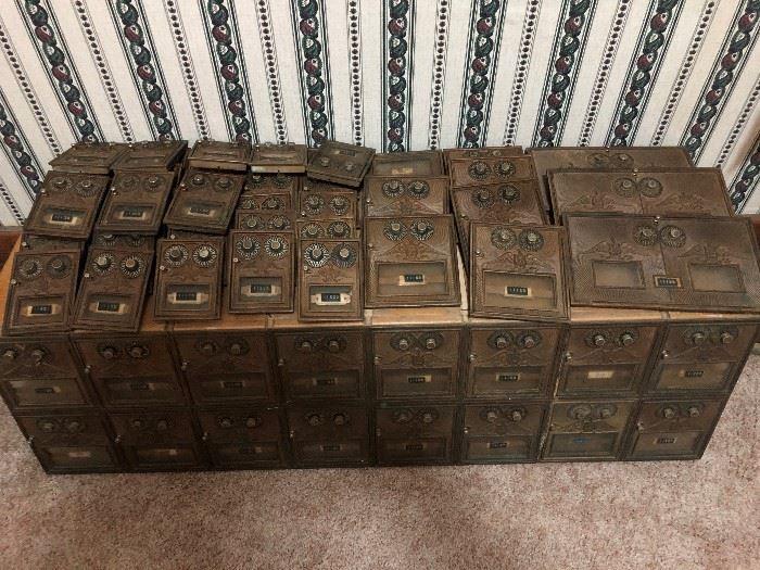 Antique Brass Double Dial USPS Box Doors