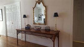 Chinese Chippendale Console Table Faux Bamboo