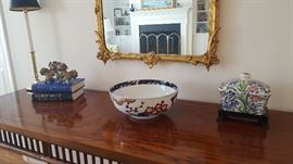 Large Royal Crown Derby Imari Bowl, Taiwanese Cochin Foo Dogs