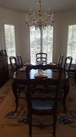 French Country Dining Room, Butterfly rug needs repair