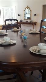 French Country Table w/ 2 Captians & 8 Chairs, Stone Eggs, Lenox China