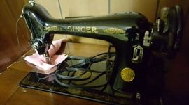 Vintage singer sewing machine and cabinet and bench