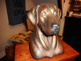 Big Sky Carvers 'Great Expectations' signed cast resin Chocolate Labrador Retriever (12in H x 7.5in W), artist Pamela Shawley Weaver