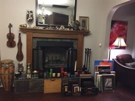 Mirror, Chotskies, Amethyst  Votive Candle Holders, Crystal, Violin and Dulcimer are non-functioning (used for art), Congo, Candles, Candle Holders, Picture Frames, Canvas/Art.