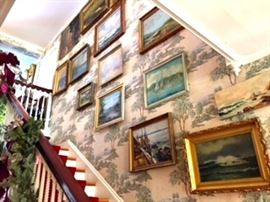 Wall of Paintings showing stairway banisters done by McIntyre (Banisters not for Sale)