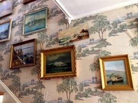 Oil Paintings on Hallway Wall