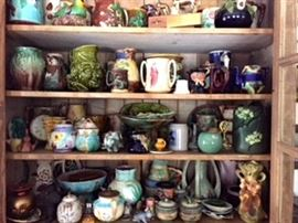 Cabinet full of Majolica and other Pottery