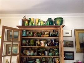 Pine Cabinet filled with Pottery and Majolica