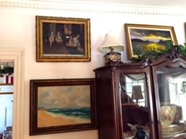 Oil Paintings - 1900's China Cabinet - needs work