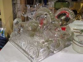 Baroque glass horse bookends