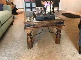 INDIAN TABLE - METAL AND WOOD AND GLASS TOP