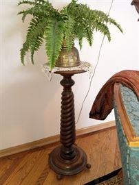 Vintage barley twist pedestal plant stand