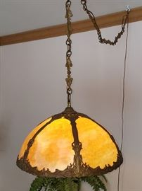 Vintage art nouveau slag glass swag lamp