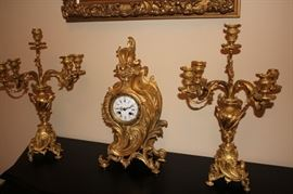 Tiffany Clock with Garnitures