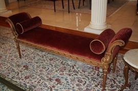 Upholstered Bench  with Decorative Rolls & Rug
