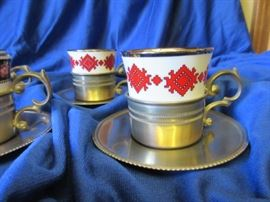 Pewter cup and saucer with fine porcelain expresso cups, set of 6