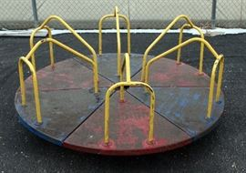 "Vintage Playground Merry-Go-Round, New Ball Bearing For Smooth FAST Ride! 6' Diameter, with 1/2"" Steel Base For Concrete Mount"