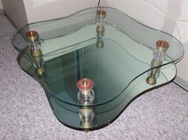 Super looking,  vintage glass and copper trim Coffee Table