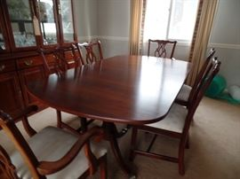 Duncan Phyfe dining room set; 6 chairs,  china cabinet, 2 leaves and pads
