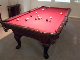 """""""Limited Edition"""" Highland Series regulation 8 ft. Simonis burgundy felt, Dark Mahogany finish with heavy leather pockets, Aramith Belgian billard balls, overall dimensions 54"""" W x 99"""" L x 32"""" H made from Tulip wood and manufactured by AMF."""