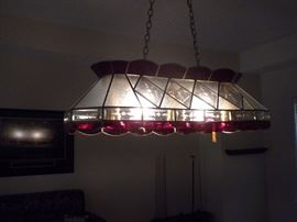 Custom Tiffany light (5 bulbs) 80 glass panes with brass frame
